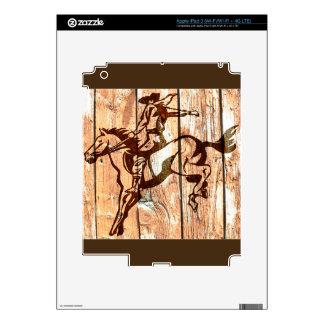 Vaquero bucking de madera del caballo salvaje iPad 3 skin
