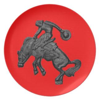 Vaquero Bucking .jpg del caballo de Tejas Plato De Comida