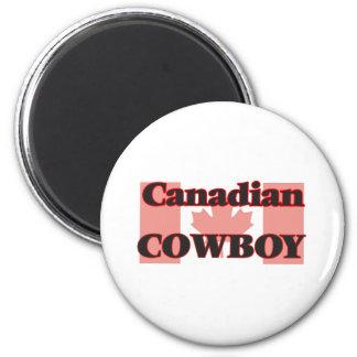 Vaquero canadiense imán redondo 5 cm