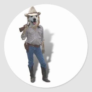 Vaquero canino etiquetas redondas