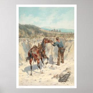 Vaquero con el caballo en Arroyo… (1324) Póster