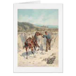 Vaquero con el caballo en Arroyo… (1324) Tarjeta De Felicitación