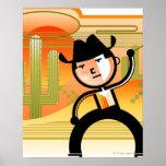 Vaquero con el lazo y el cactus póster