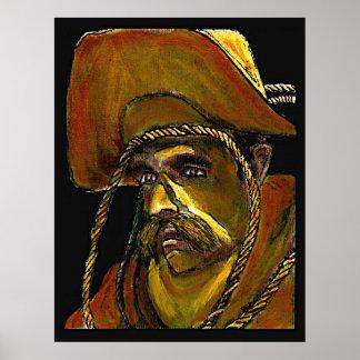 Vaquero con la cuerda en lona poster