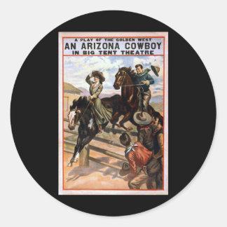 Vaquero de Arizona en teatro grande de la tienda Etiquetas Redondas