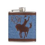 Vaquero de cuero en el caballo (frasco personaliza