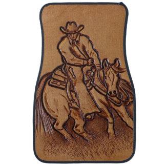 Vaquero de cuero equipado occidental del montar a alfombrilla de coche