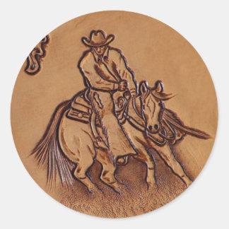 Vaquero de cuero equipado occidental del montar a pegatina redonda