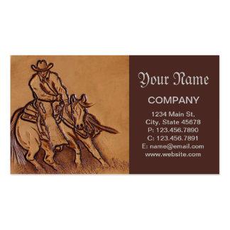 Vaquero de cuero equipado occidental del montar a tarjetas de visita
