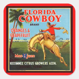 Vaquero de Floriday Pegatina Cuadrada