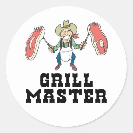 Vaquero de Grill Master Pegatinas Redondas