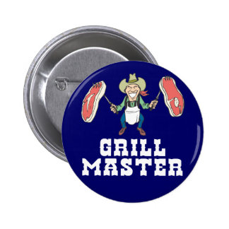 Vaquero de Grill Master Pin Redondo De 2 Pulgadas