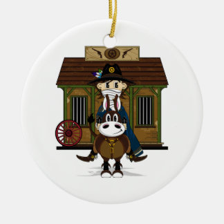 Vaquero de la cárcel en el ornamento del caballo adorno navideño redondo de cerámica