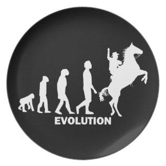 vaquero de la evolución platos para fiestas