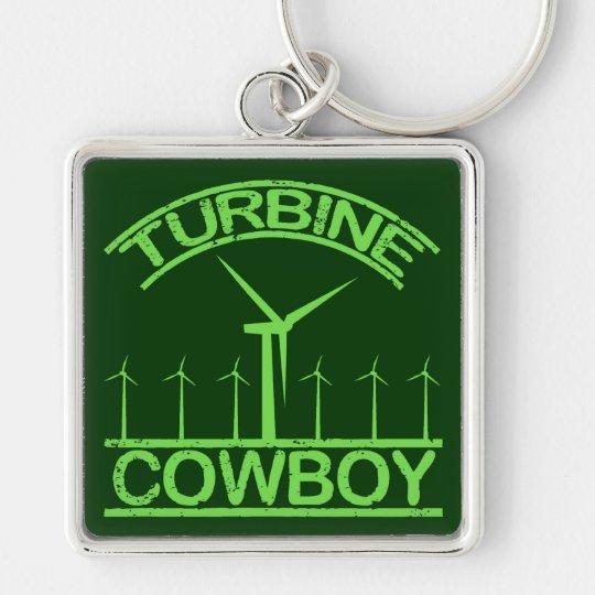 Vaquero de la turbina llavero cuadrado plateado