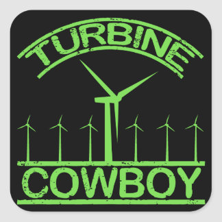 Vaquero de la turbina pegatina cuadrada