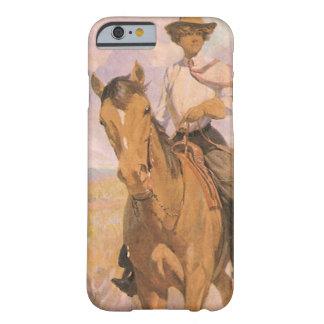 Vaquero de la vaquera del vintage, mujer en funda para iPhone 6 barely there