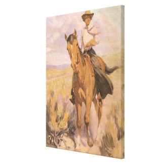 Vaquero de la vaquera del vintage, mujer en impresión en lona