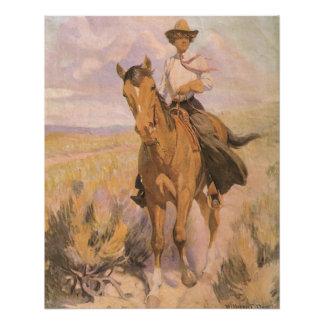 Vaquero de la vaquera del vintage, mujer en perfect poster