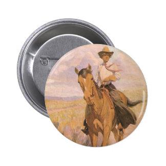 Vaquero de la vaquera del vintage, mujer en pin redondo de 2 pulgadas
