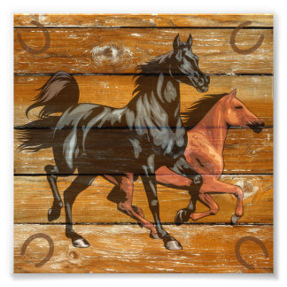 Vaquero de madera del granero de las herraduras de impresiones fotograficas