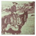 Vaquero de Montana, c.1880 (foto de b/w) Azulejos