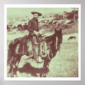 Vaquero de Montana, c.1880 (foto de b/w) Póster