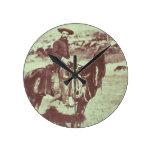 Vaquero de Montana, c.1880 (foto de b/w) Relojes De Pared