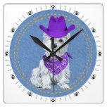 Vaquero de Westie en el dril de algodón Relojes De Pared
