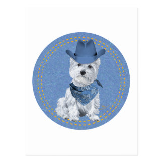 Vaquero de Westie en el dril de algodón Postales