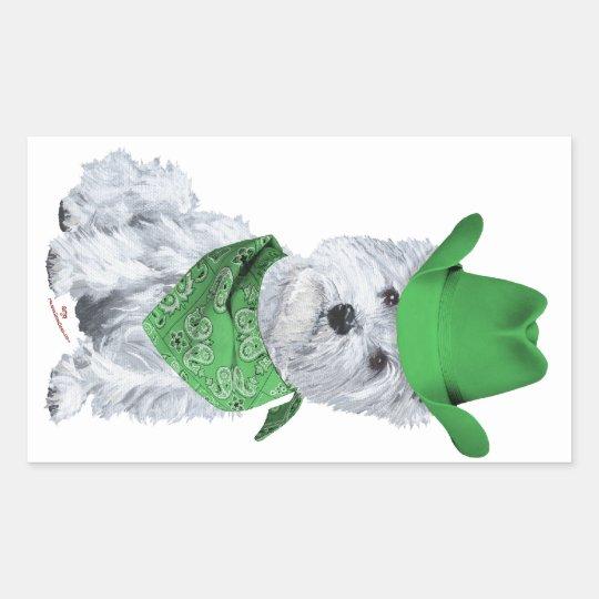 Vaquero de Westie en verde Pegatina Rectangular