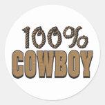 Vaquero del 100 por ciento pegatina redonda