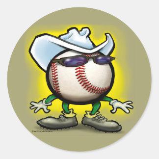 Vaquero del béisbol pegatina redonda