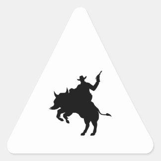 Vaquero del búfalo pegatina triangular