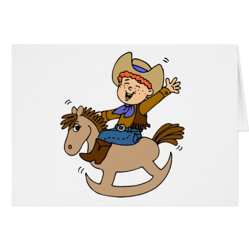 Vaquero del caballo mecedora tarjeta