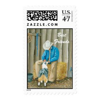 Vaquero del ~ de los mejores amigos y pastor timbre postal