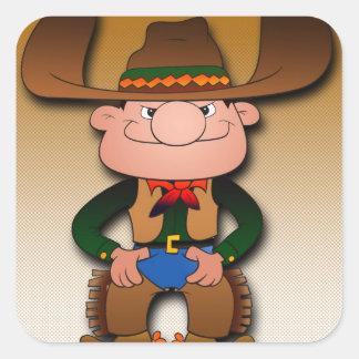 Vaquero del dibujo animado pegatina cuadrada