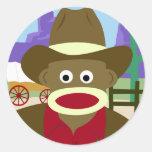 Vaquero del mono del calcetín etiqueta redonda