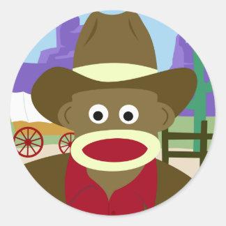 Vaquero del mono del calcetín pegatina redonda