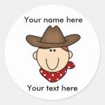 Vaquero del personalizar usted mismo pegatina redonda