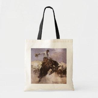 Vaquero del rodeo del vintage, montar a caballo bolsa tela barata