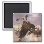 Vaquero del rodeo del vintage, montar a caballo imán cuadrado