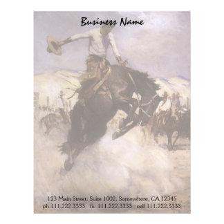 Vaquero del rodeo del vintage, montar a caballo membretes personalizados