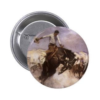 Vaquero del rodeo del vintage, montar a caballo pin redondo de 2 pulgadas