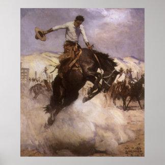 Vaquero del rodeo del vintage, montar a caballo póster