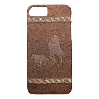 Vaquero del rodeo - el Roping, cuero y cuerda del Funda iPhone 7
