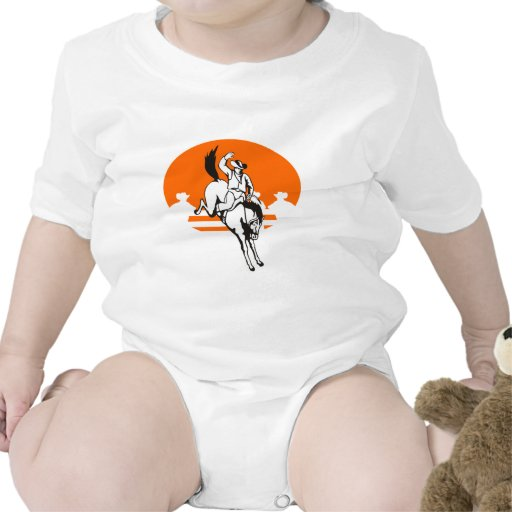 Vaquero del rodeo que monta un caballo salvaje traje de bebé
