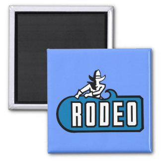 Vaquero del rodeo - viejo oeste imán cuadrado