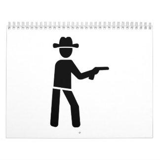 Vaquero del sheriff calendario de pared