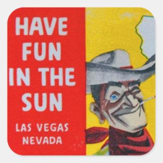 Vaquero del viaje de Las Vegas Nevada Pegatina Cuadrada